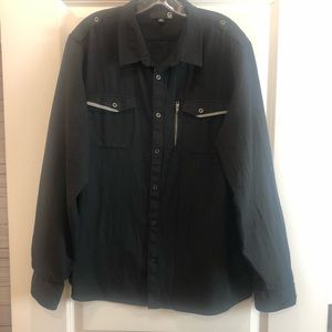 Men's Black and Gray G by Guess Long Sleeve Shirt